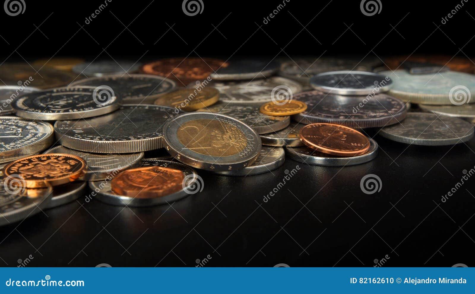 Seitenansicht Des Loses Münzen Von Verschiedenen Ländern Der Welt