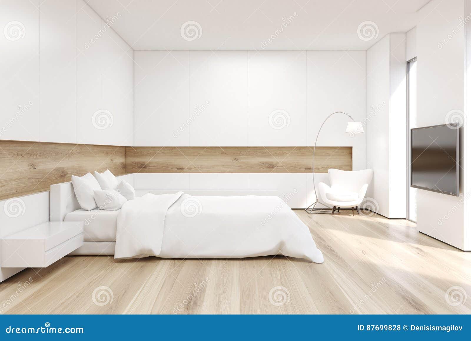 Seitenansicht Des Schlafzimmers Mit Fernseher Stock ...
