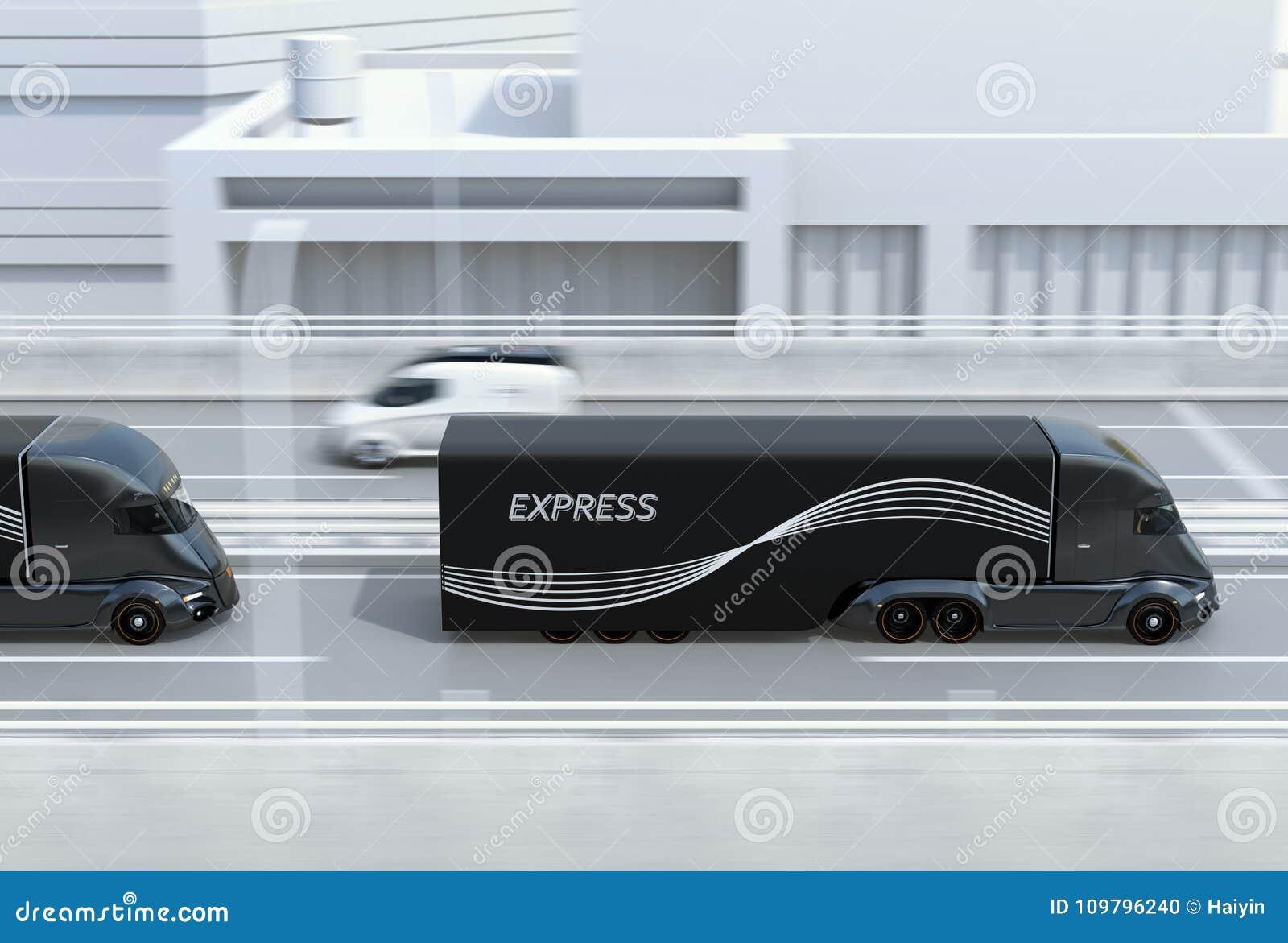 Seitenansicht einer Flotte des Schwarzen selbst-fahrend elektrisch tauscht halb das Fahren auf Landstraße