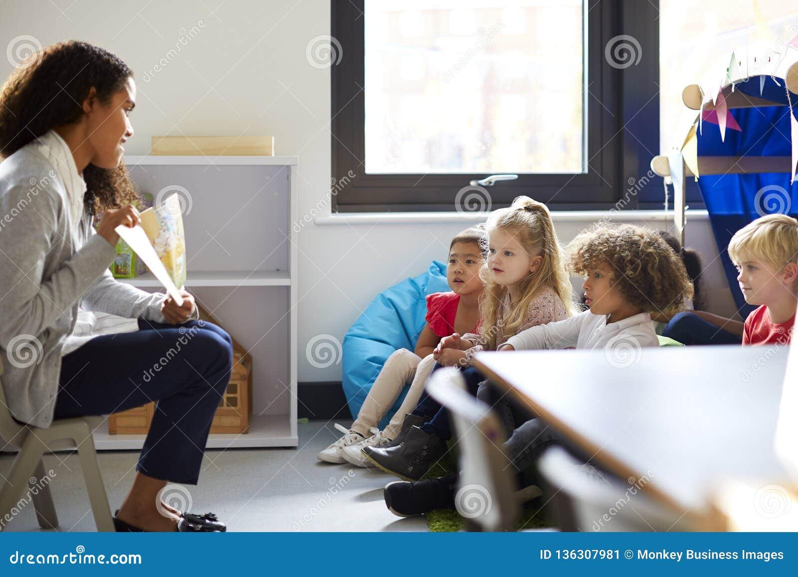 Seitenansicht einer weiblichen Kindergärtnerin, die auf einem Stuhl zeigt den Kindern ein Buch in einem Klassenzimmer sitzt