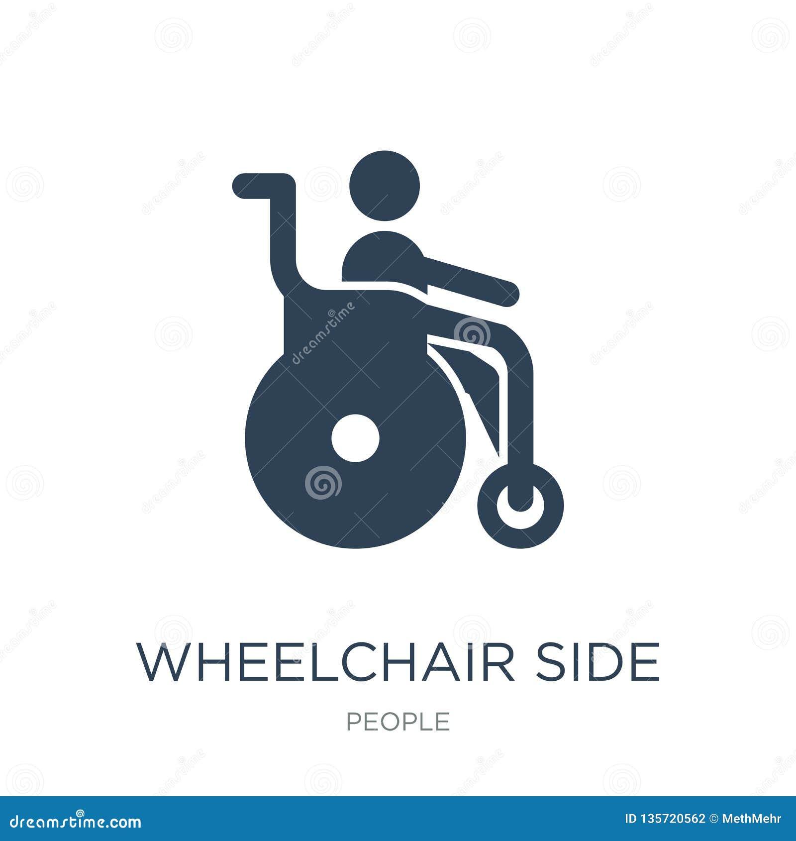 Seitenansichtikone des Rollstuhls in der modischen Entwurfsart Seitenansichtikone des Rollstuhls lokalisiert auf weißem Hintergru