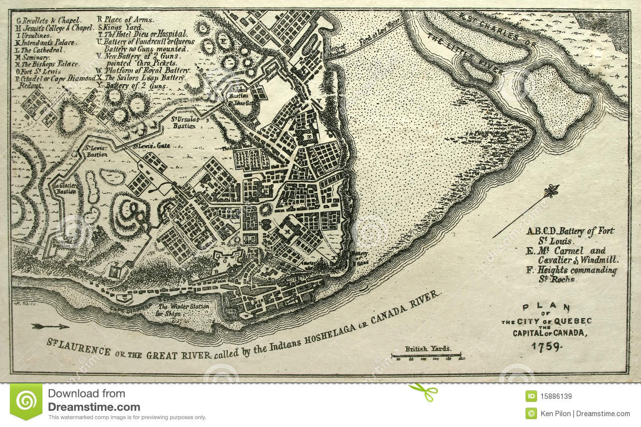 Seize Map Of Quebec City, 1759. Royalty Free Stock Images ...