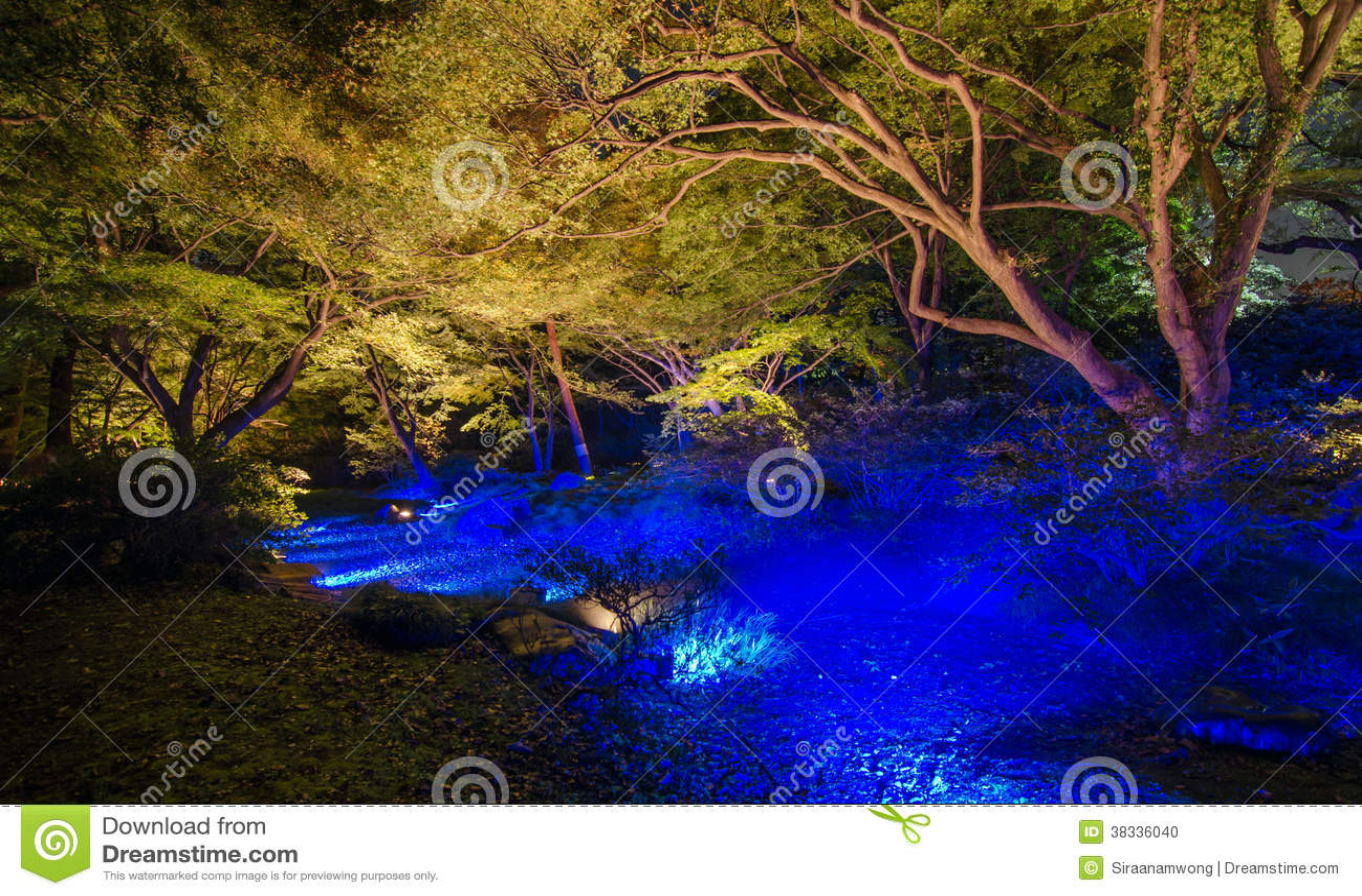 Seizoengebonden verlichting bij Rikugien-Tuin, Tokyo, Japan