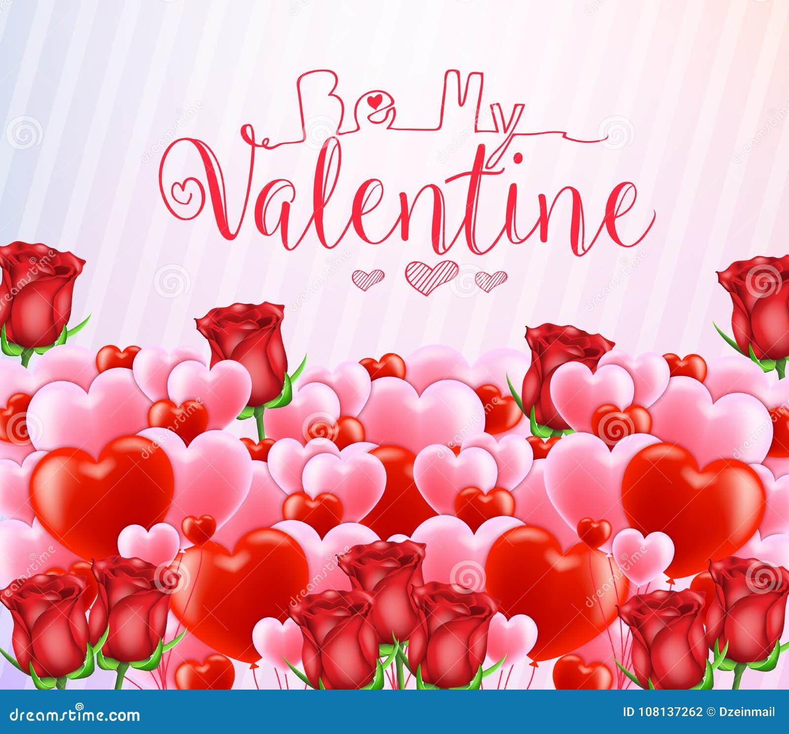 Seja meu Valentine Greeting Poster com lotes de corações vermelhos e cor-de-rosa