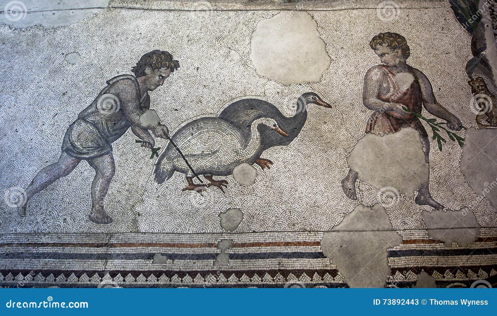 Sekcja mozaiki od Wielkiej pałac mozaiki przy Istanbuł mozaiki muzeum w Turcja