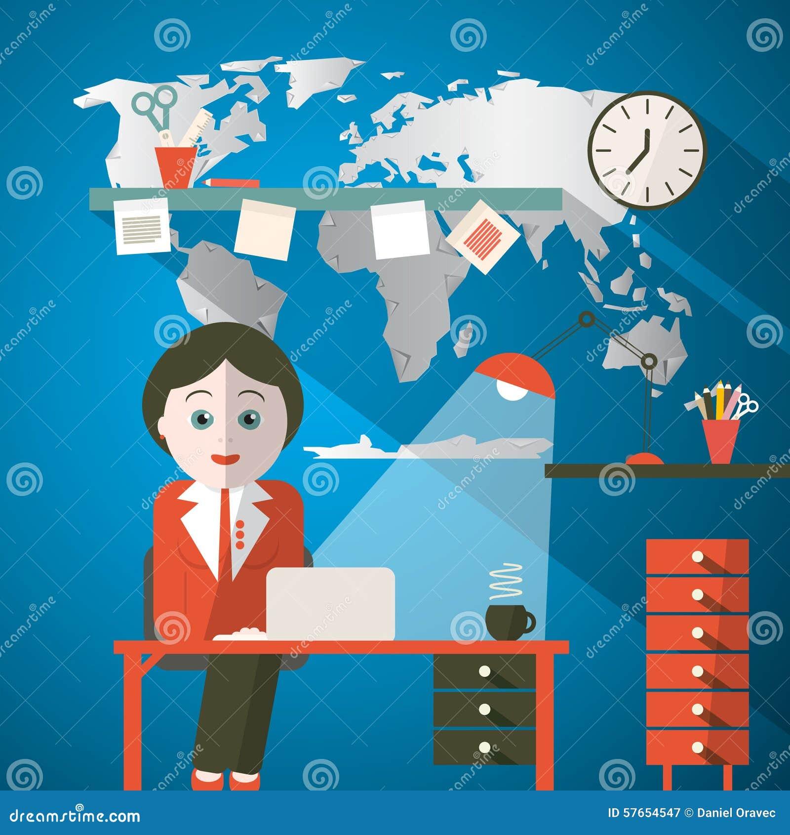 Sekretarka w biurze lub podawca w studiu