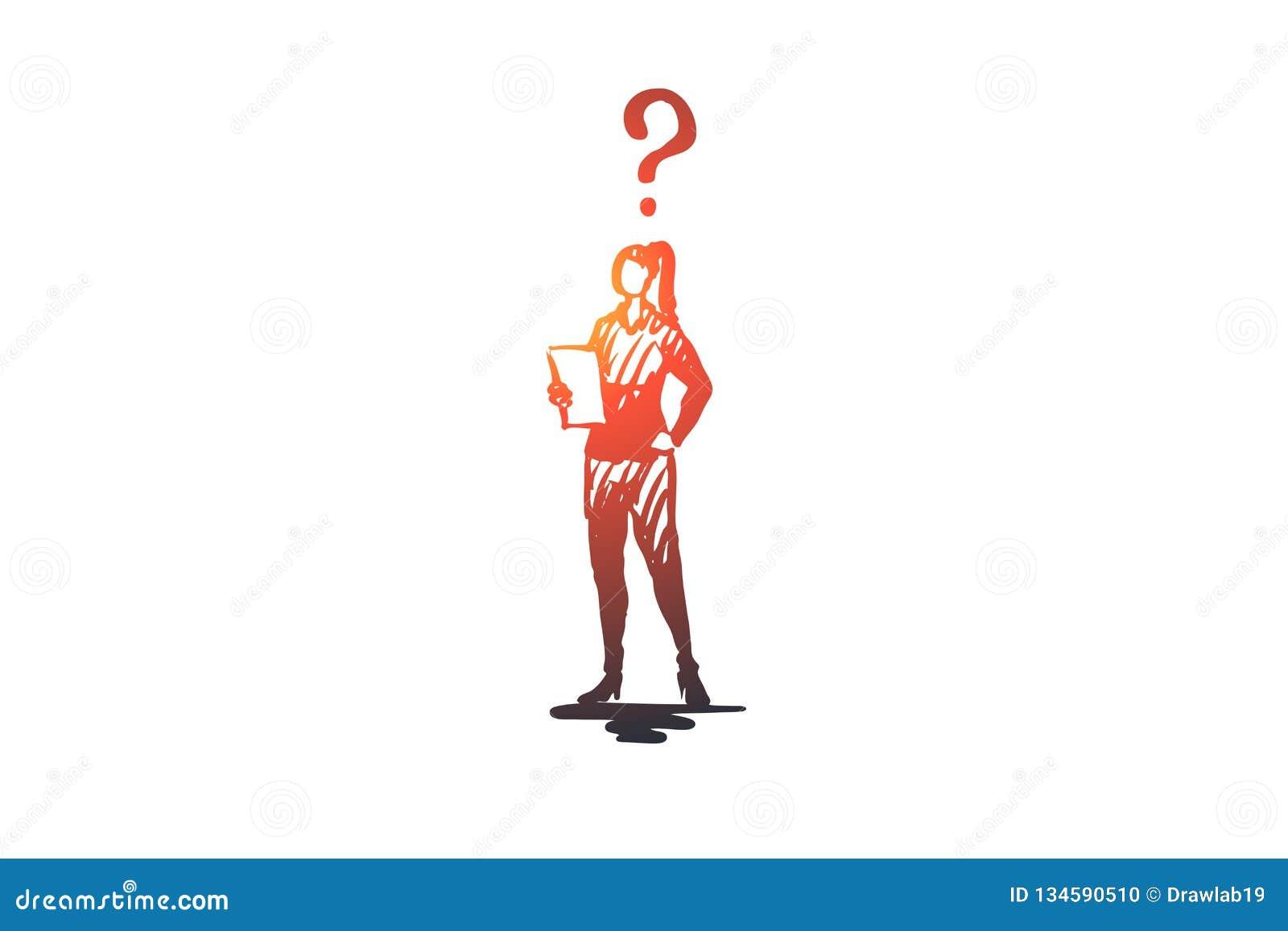 Sekreterare arbete, kontor, kvinna, upptaget begrepp Hand dragen isolerad vektor