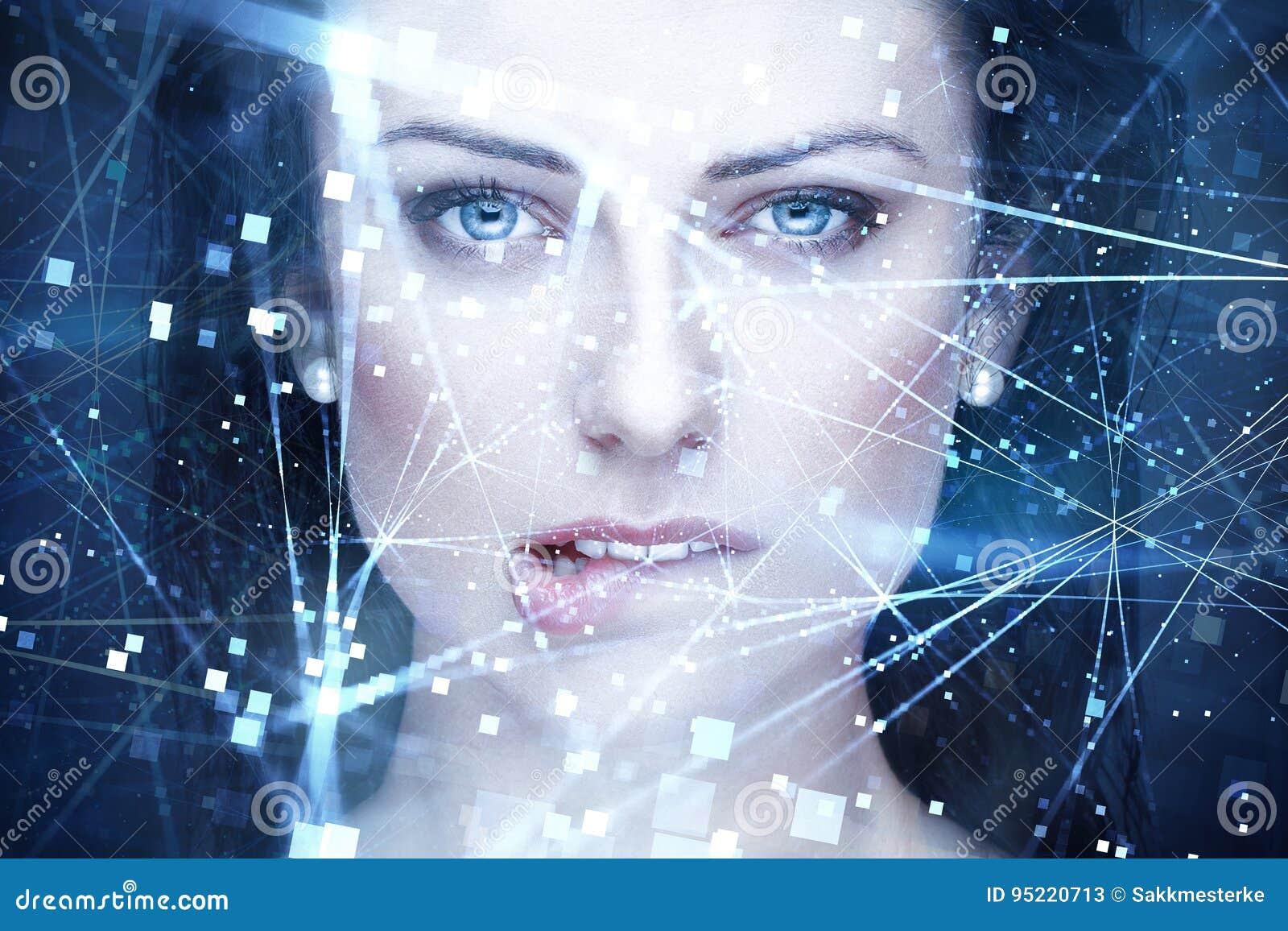 Seksownej kobiety sztuczna inteligencja z związkami gryźć wargi
