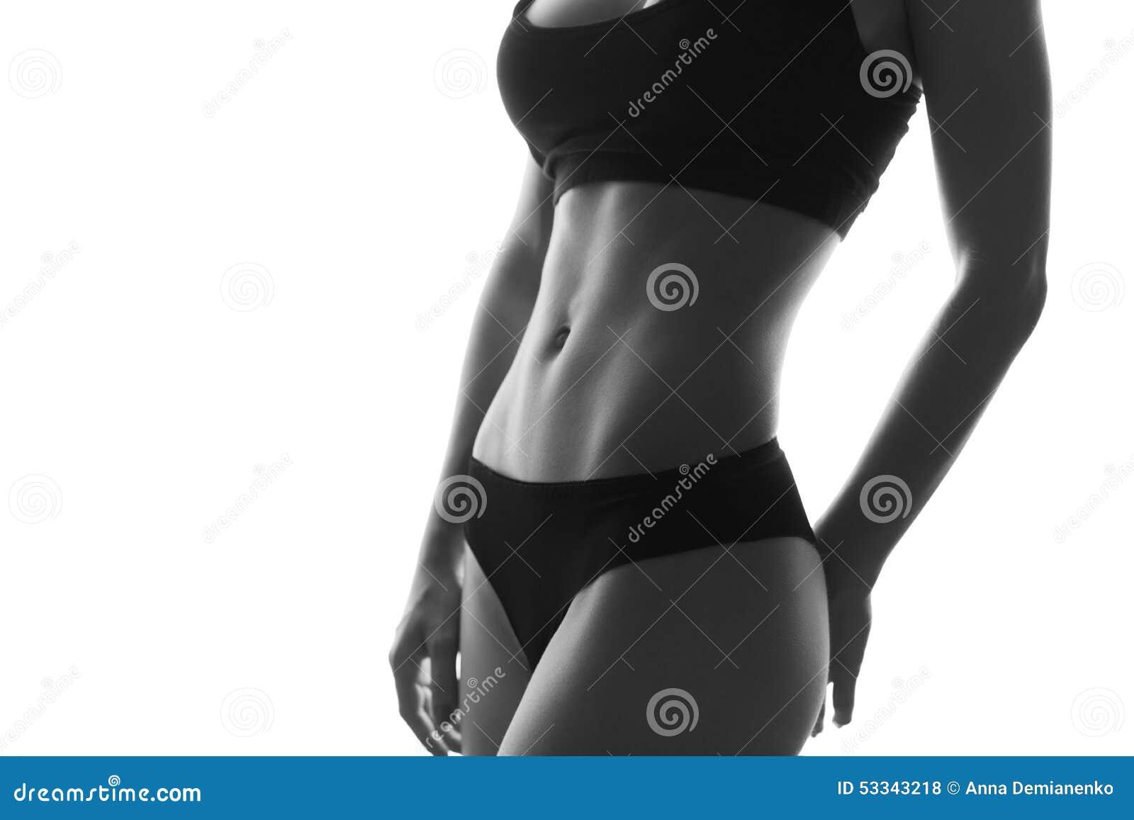Seksowny schudnięcie napadu kobiety ciała abs Umięśniony podbrzusze sportswear isola
