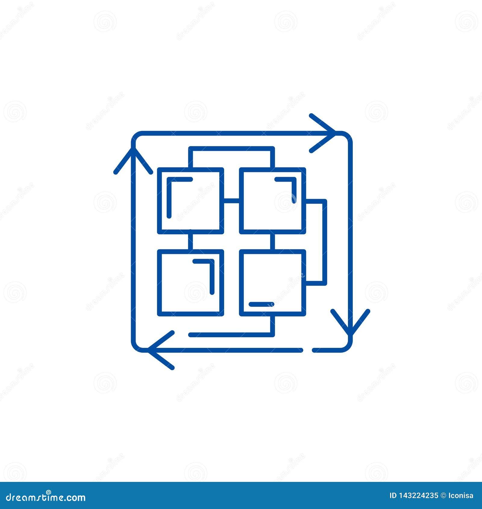 Sekwencja proces linii ikony pojęcie Sekwencja procesu płaski wektorowy symbol, znak, kontur ilustracja