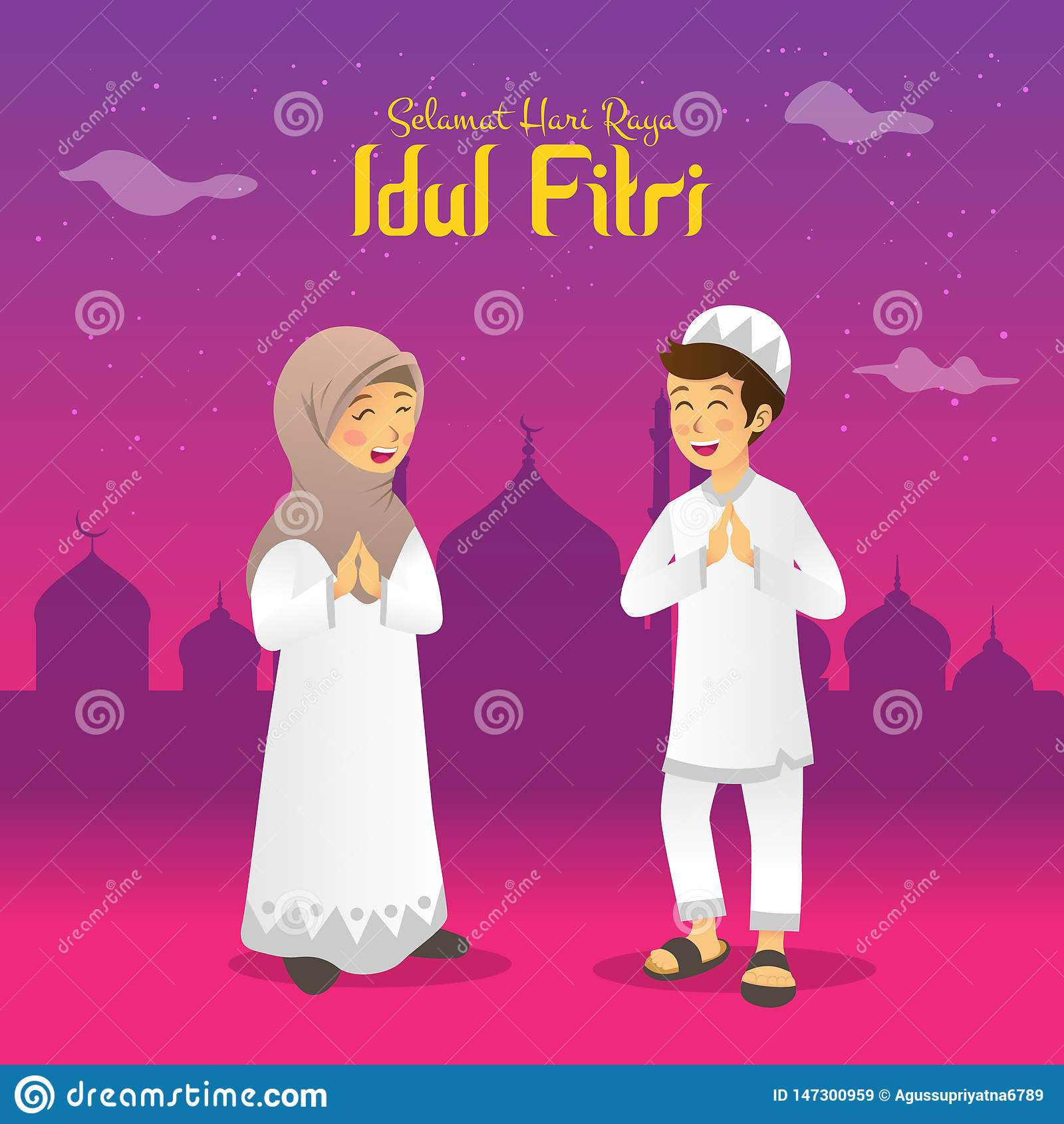 Selamat Hari Raya Idul Fitri Is Another Language Of Happy Eid Mubarak In Indonesian Cartoon Muslim Kids Celebrating Eid Al Fitr I Stock Vector Illustration Of Children Girl 147300959