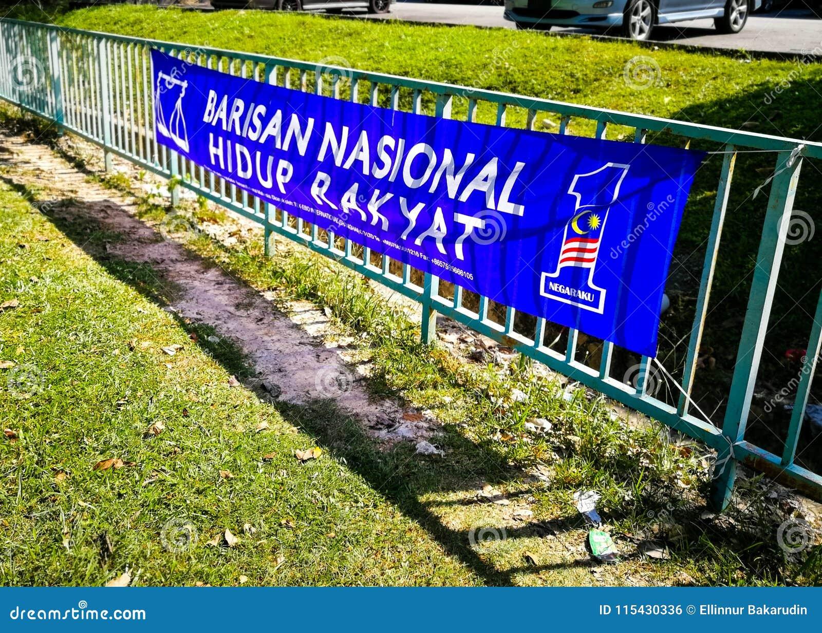 SELANGOR MALAYSIA - 28 April 2018: flaggor och baner av politiska partier, som ska delta i allmän Malaysia ` s 14th, väljer