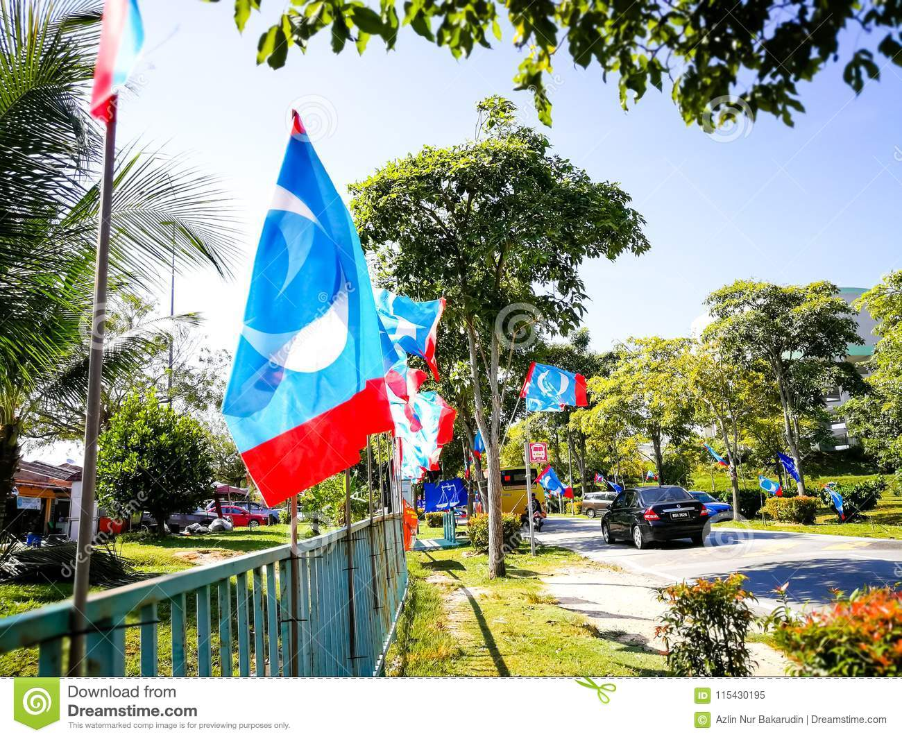 SELANGOR, MALAYSIA - 28 April 2018 : Flags And Banners Of Political
