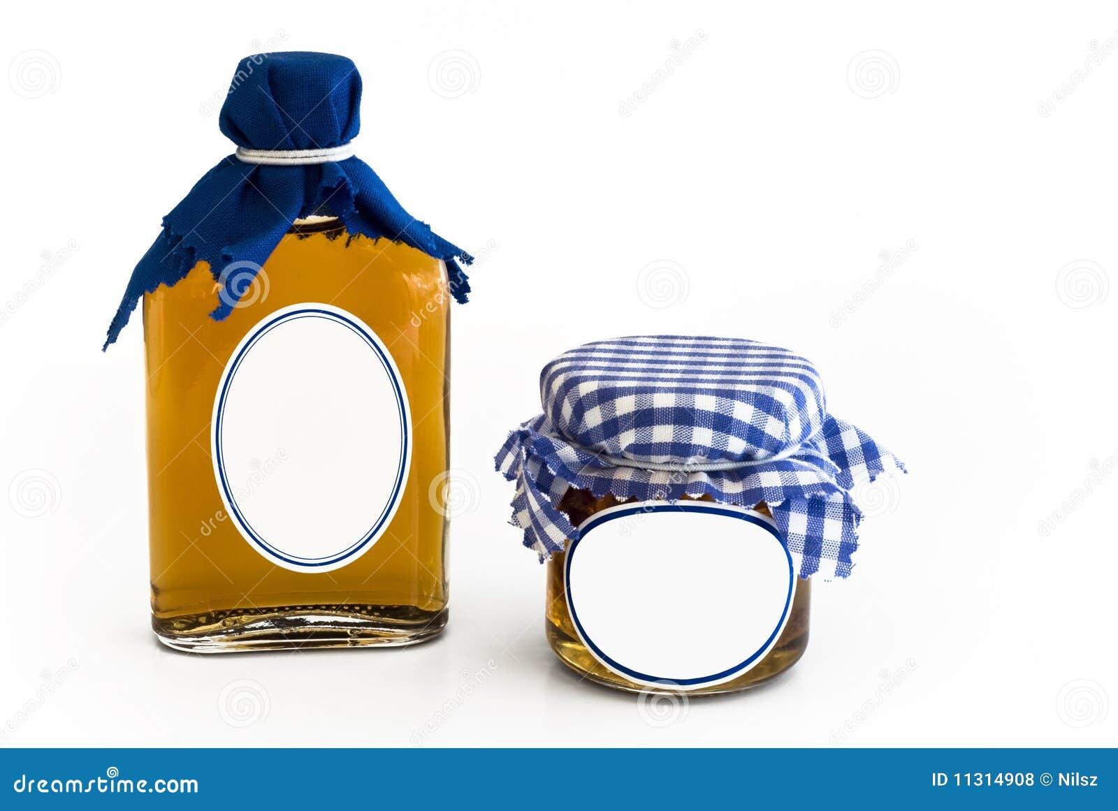 Selbst gemachte Störungflasche und -glas mit unbelegtem Kennsatz