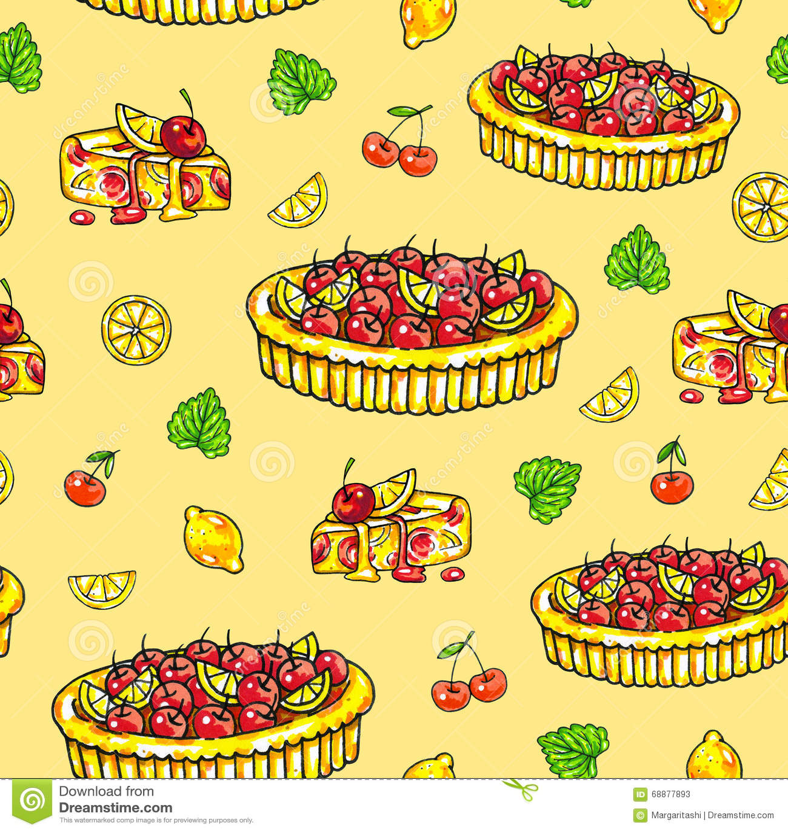 Selbst gemachte Torte über eine Zitrone und eine Kirsche auf einem gelben Hintergrund Nahtloses Muster für Auslegung Animationsil