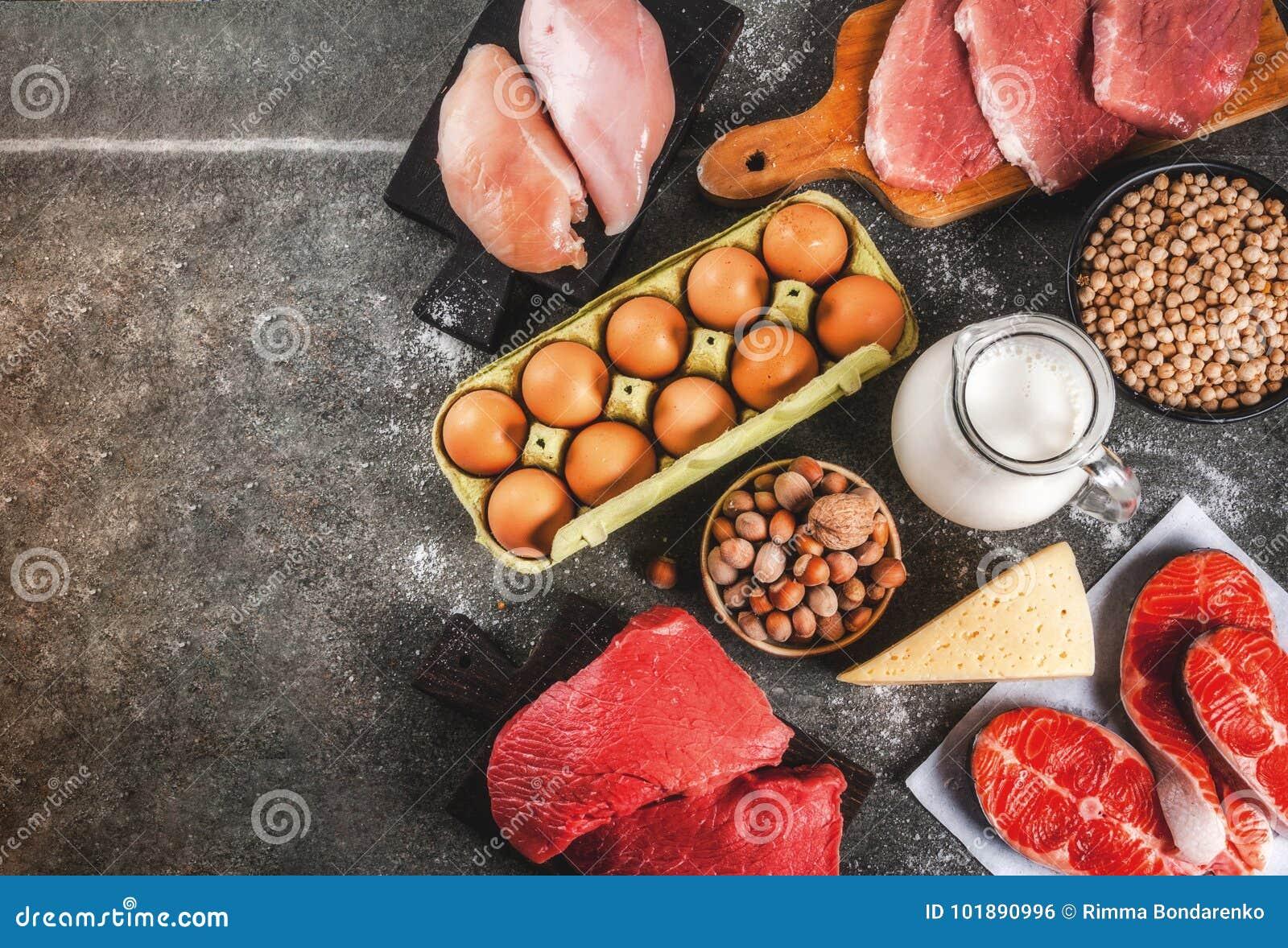 Seleção do alimento das fontes da proteína