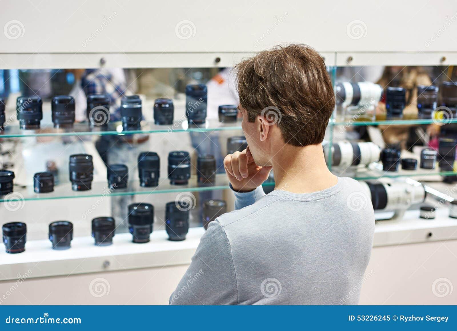 Selección de la lente de cámara en tienda