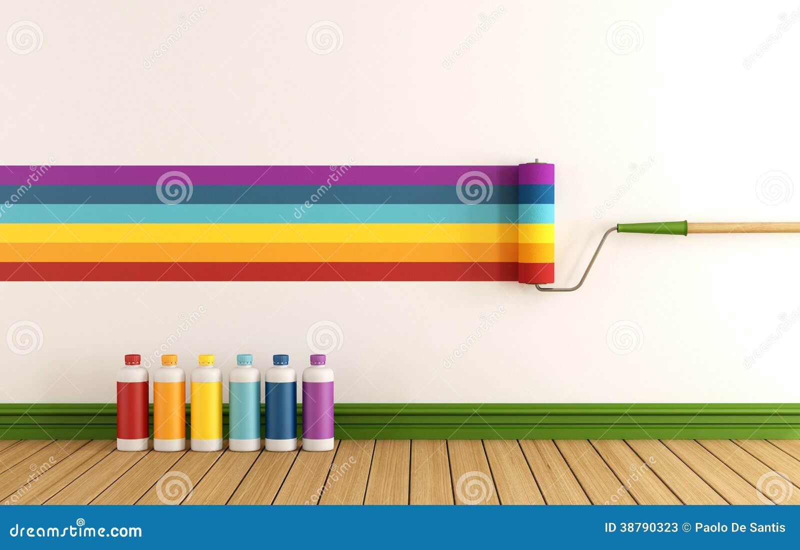 seleccione la muestra del color para pintar la pared stock
