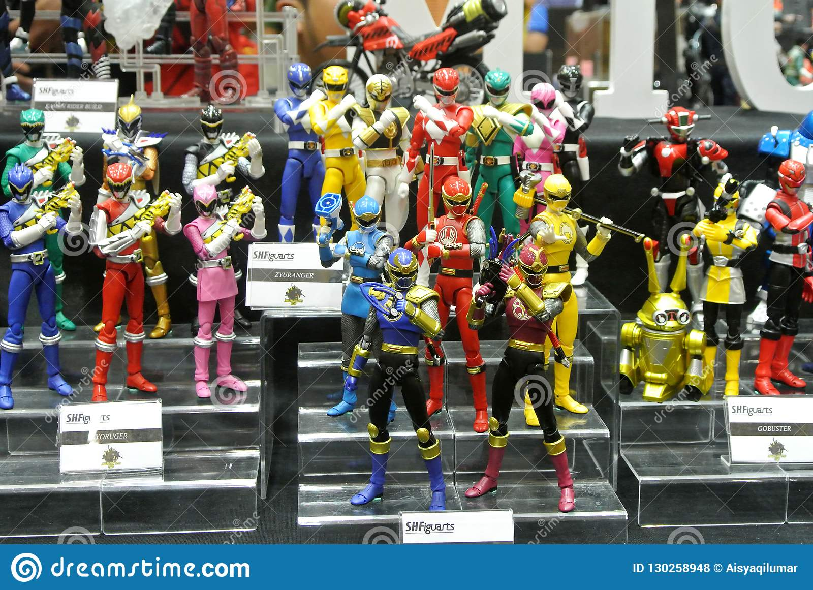 Selected focused of fictional character action figure from American kids TV series Power Rangers.