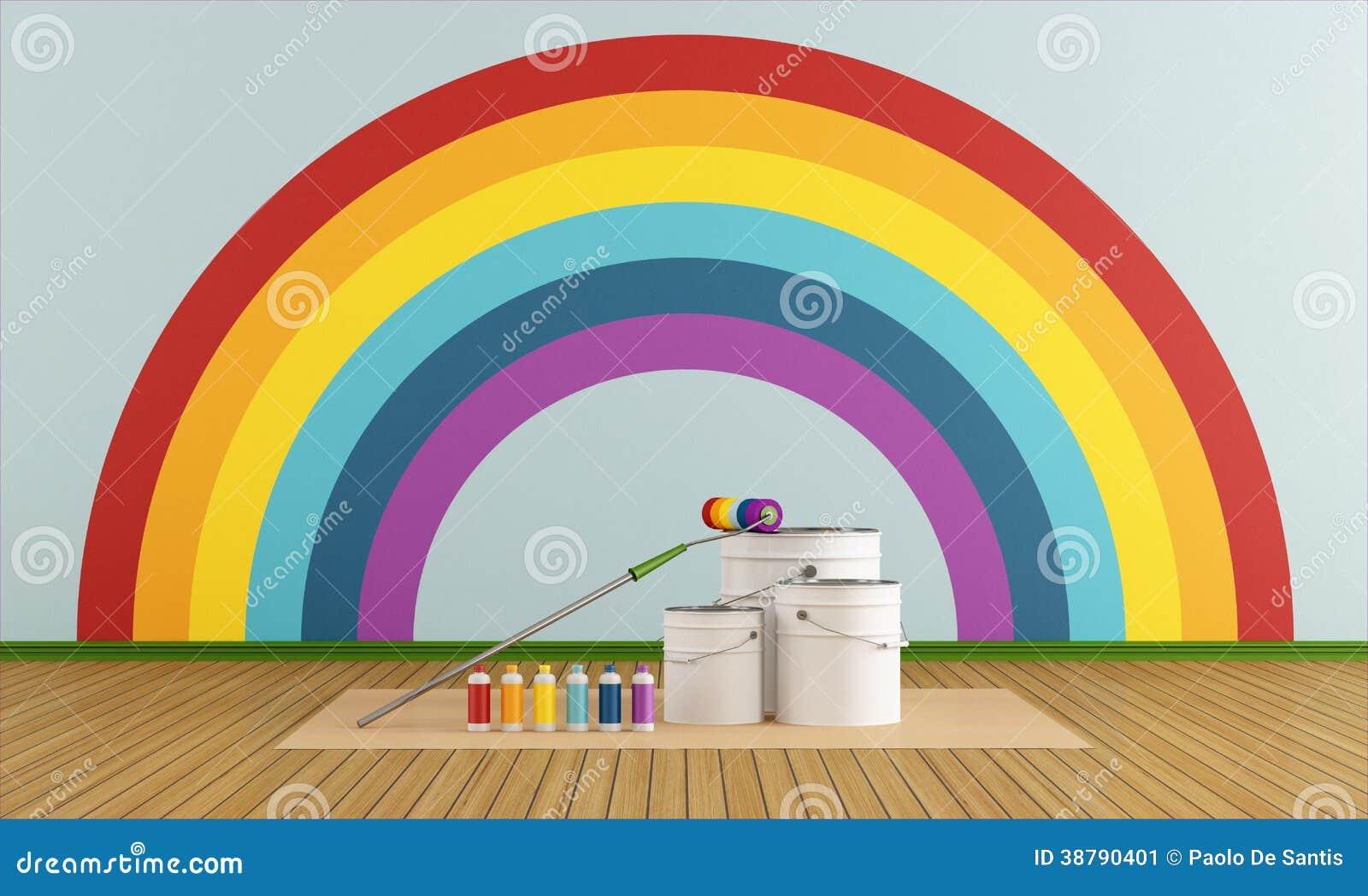 Selecteer Kleurenmonster Om Muur Met Regenboogcol. Te Schilderen ...