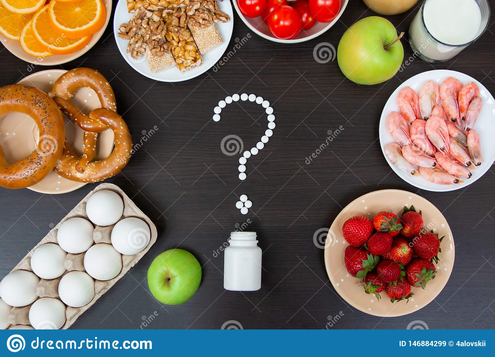 Selectie van allergievoedsel, gezond het levensconcept