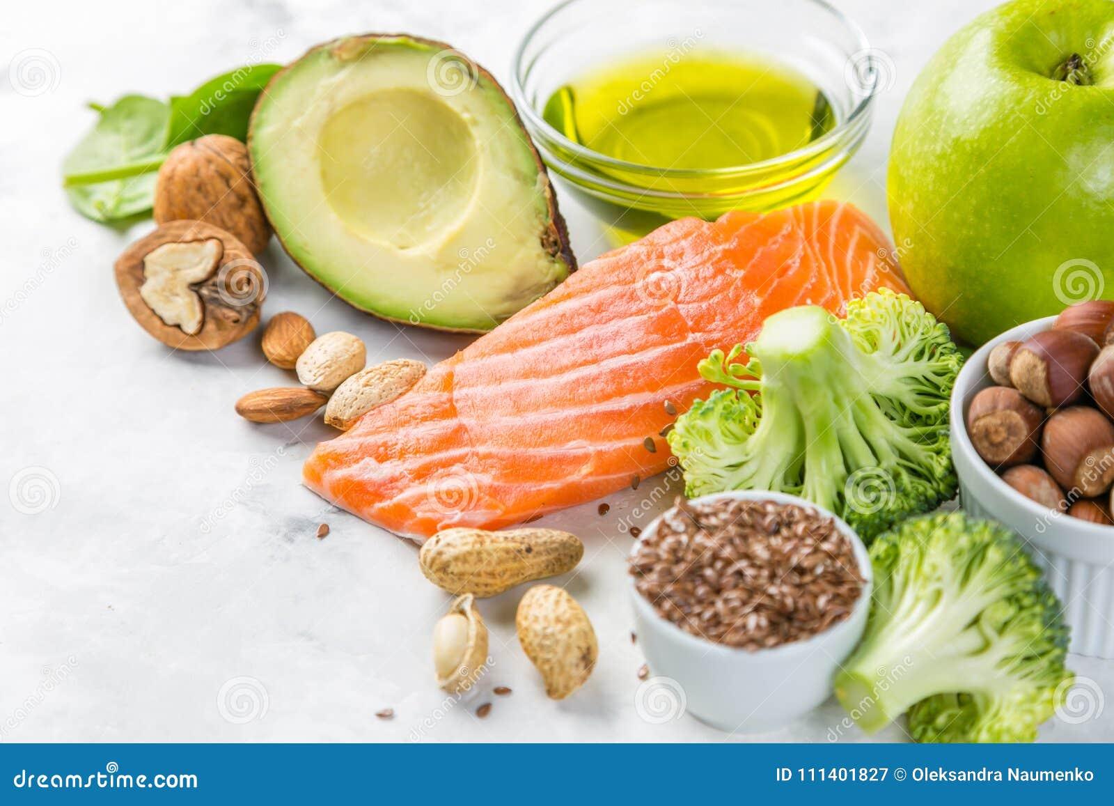 Selectie van gezonde voedselbronnen - gezond het eten concept Ketogenic dieetconcept