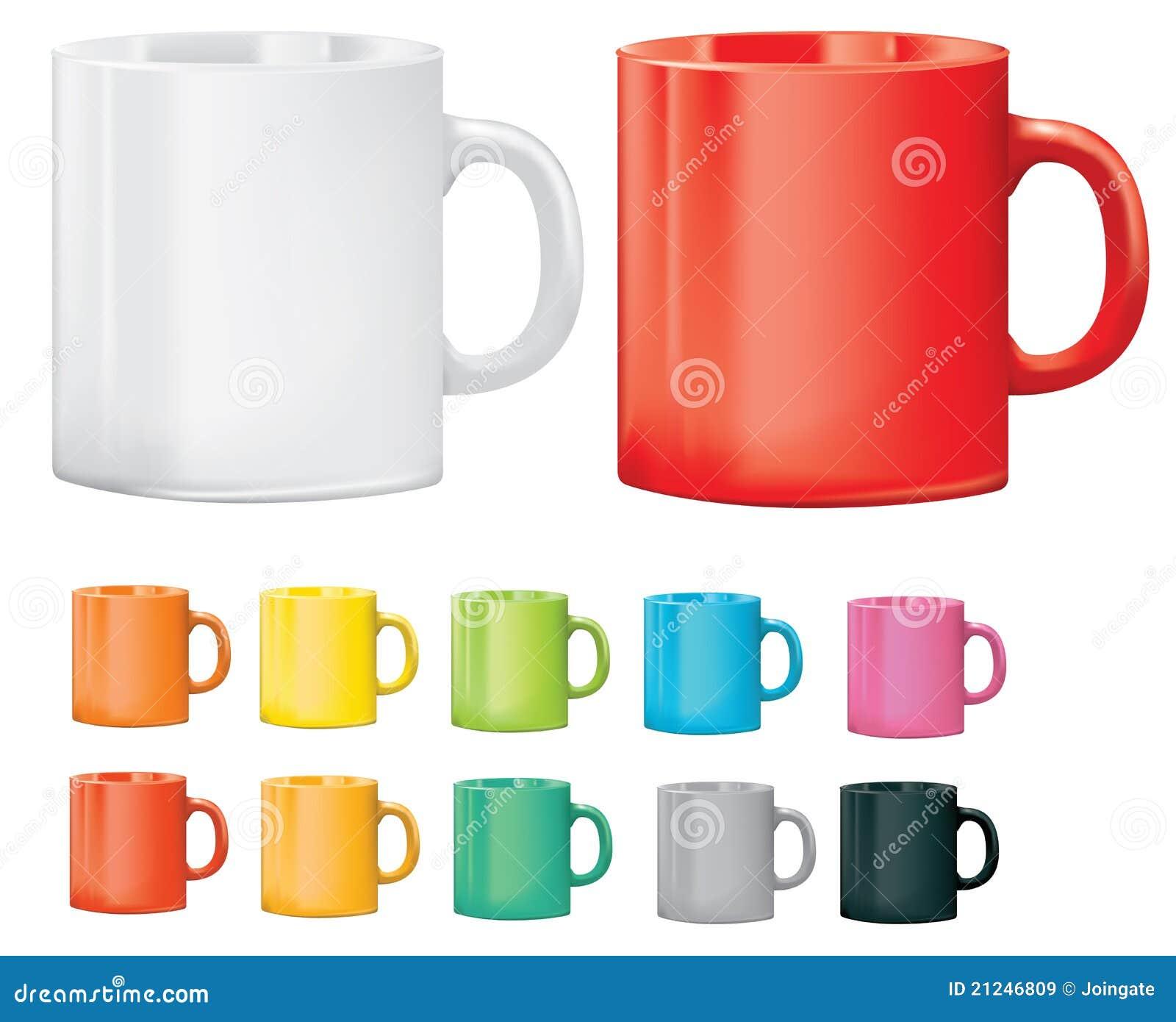 Selectie van koppen of mokken in verschillende kleuren royalty vrije stock afbeeldingen - Kleur selectie ...