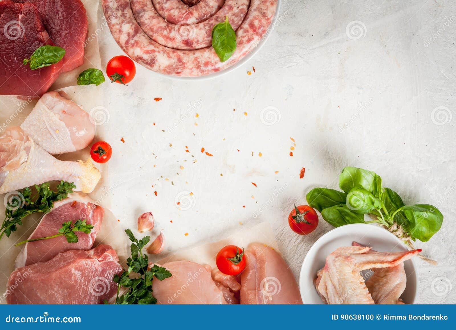 Selectie van ruw vlees