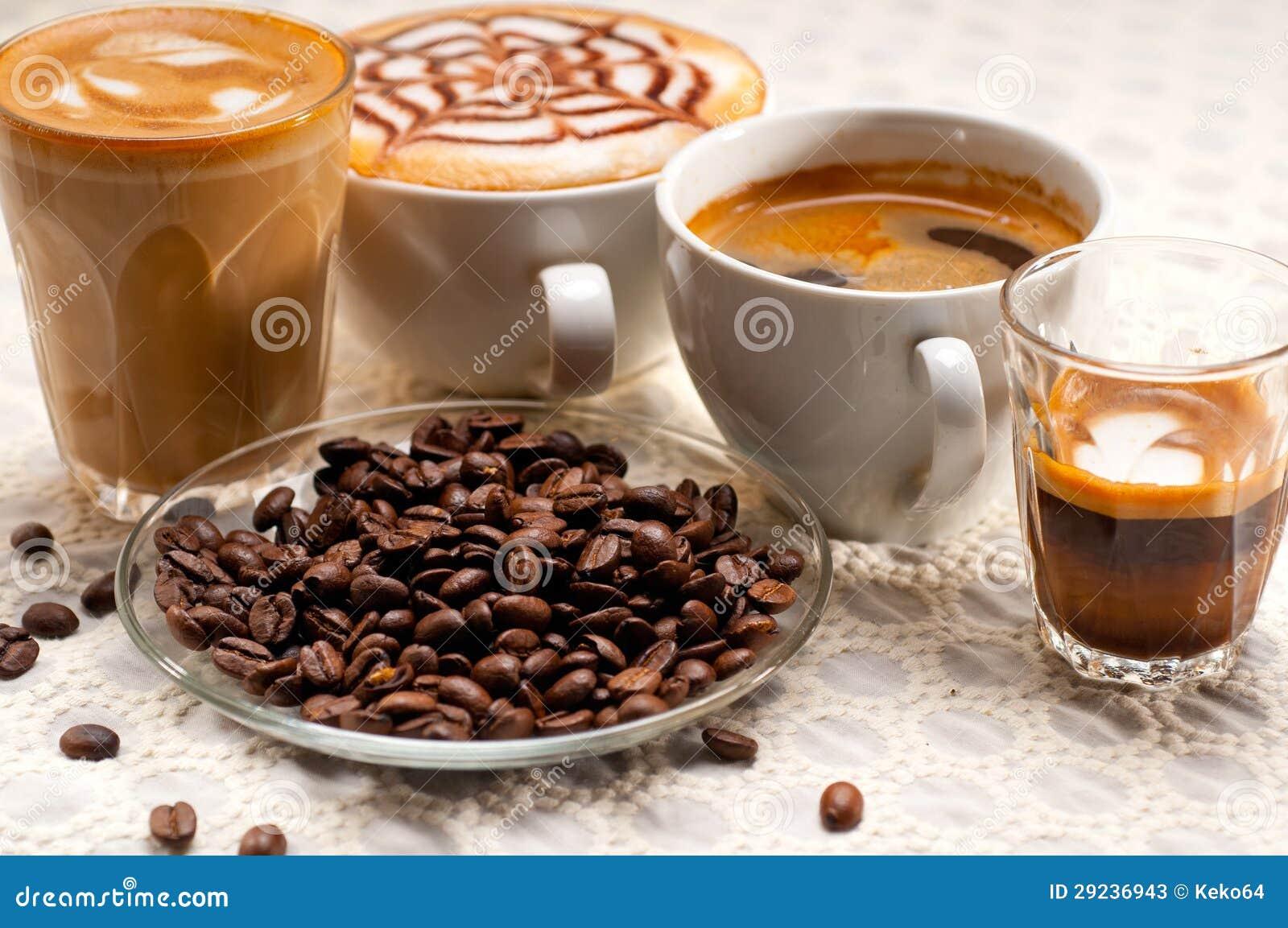 Selectie van verschillend koffietype