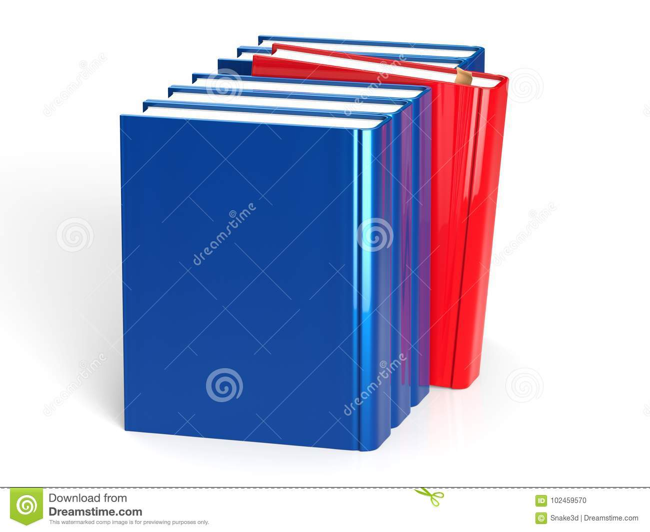 Selecting Book From Bookshelf Blue Row One Red Leadership Download Preview