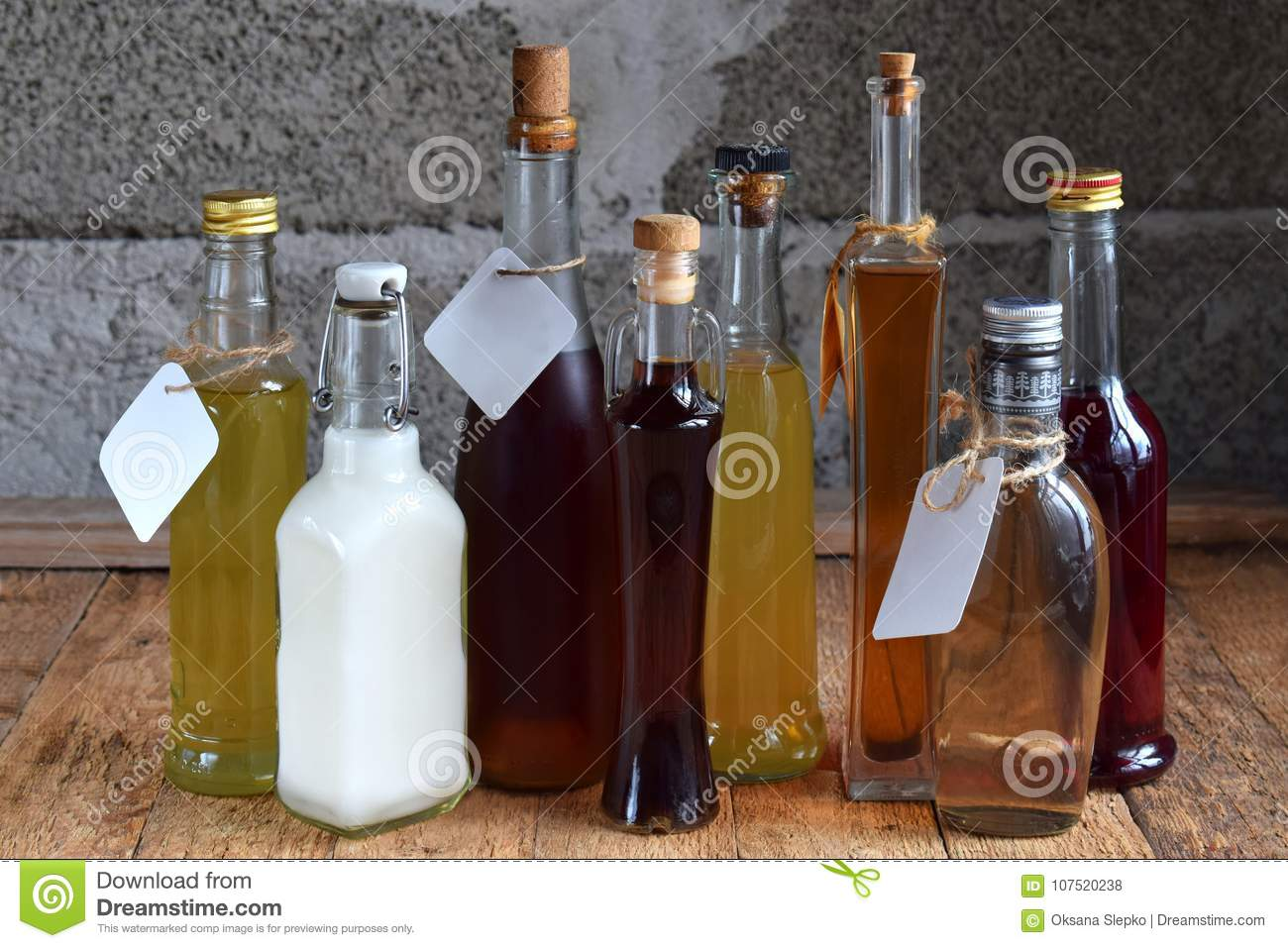 Selection of alcoholic drinks. Set of wine, brandy, liqueur, tincture, cognac, whiskey bottles. Large variety of alcohol and spiri