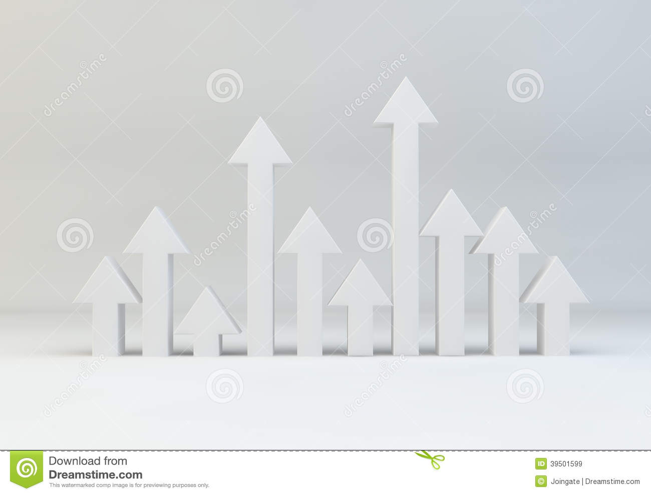 Selection of arrows pointing upwards for growth