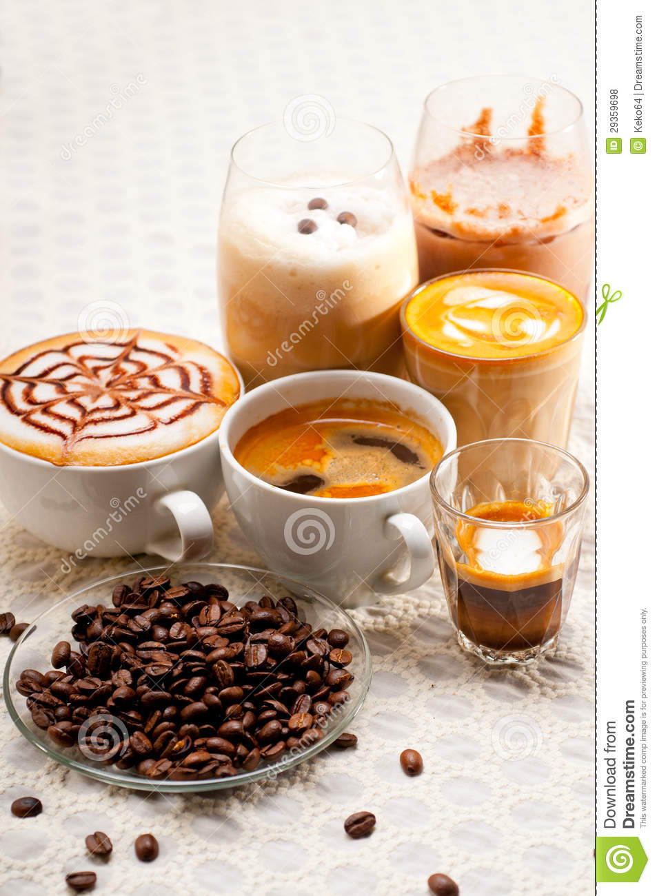 English In Italian: Selection Of Different Coffee Type Royalty Free Stock