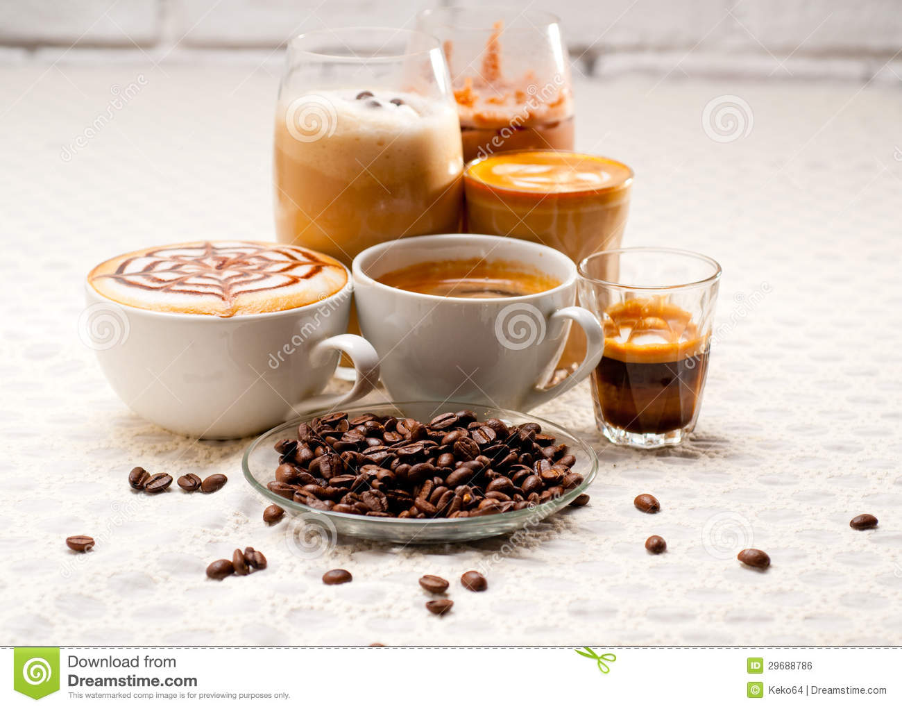 English In Italian: Selection Of Different Coffee Type Stock Photo