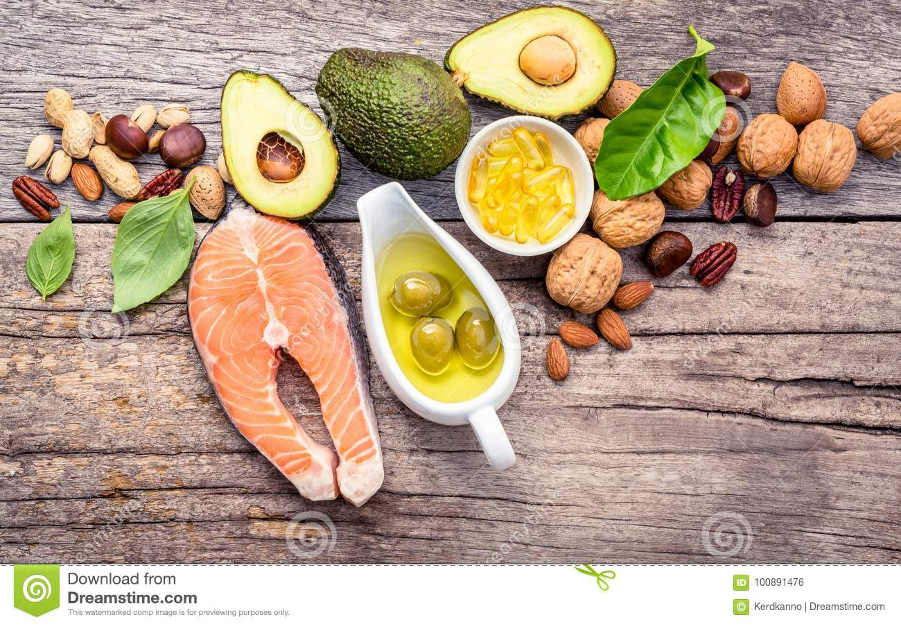 Selection food sources of omega 3 and unsaturated fats. Superfood high vitamin e and dietary fiber for healthy food.