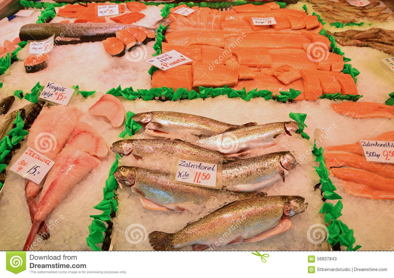 133b492fb7a4 Selection Of Fresh Fish At Morning Market In Amsterdam Stock Image ...