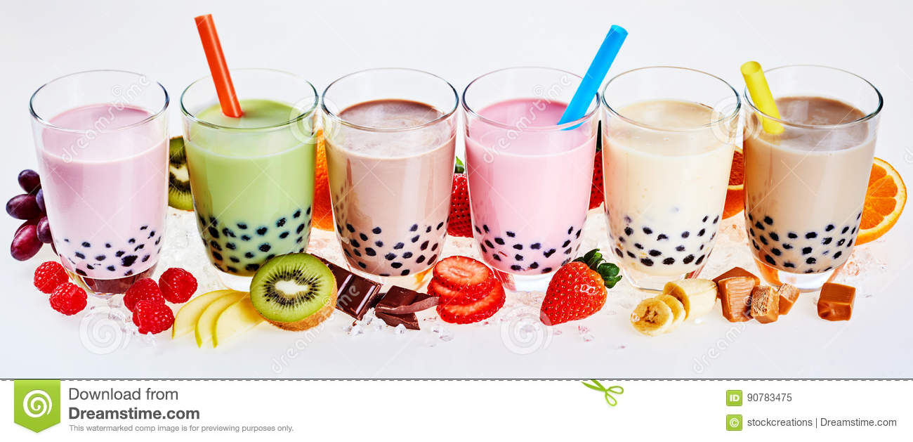 Selection of fruit flavored bubble or boba tea