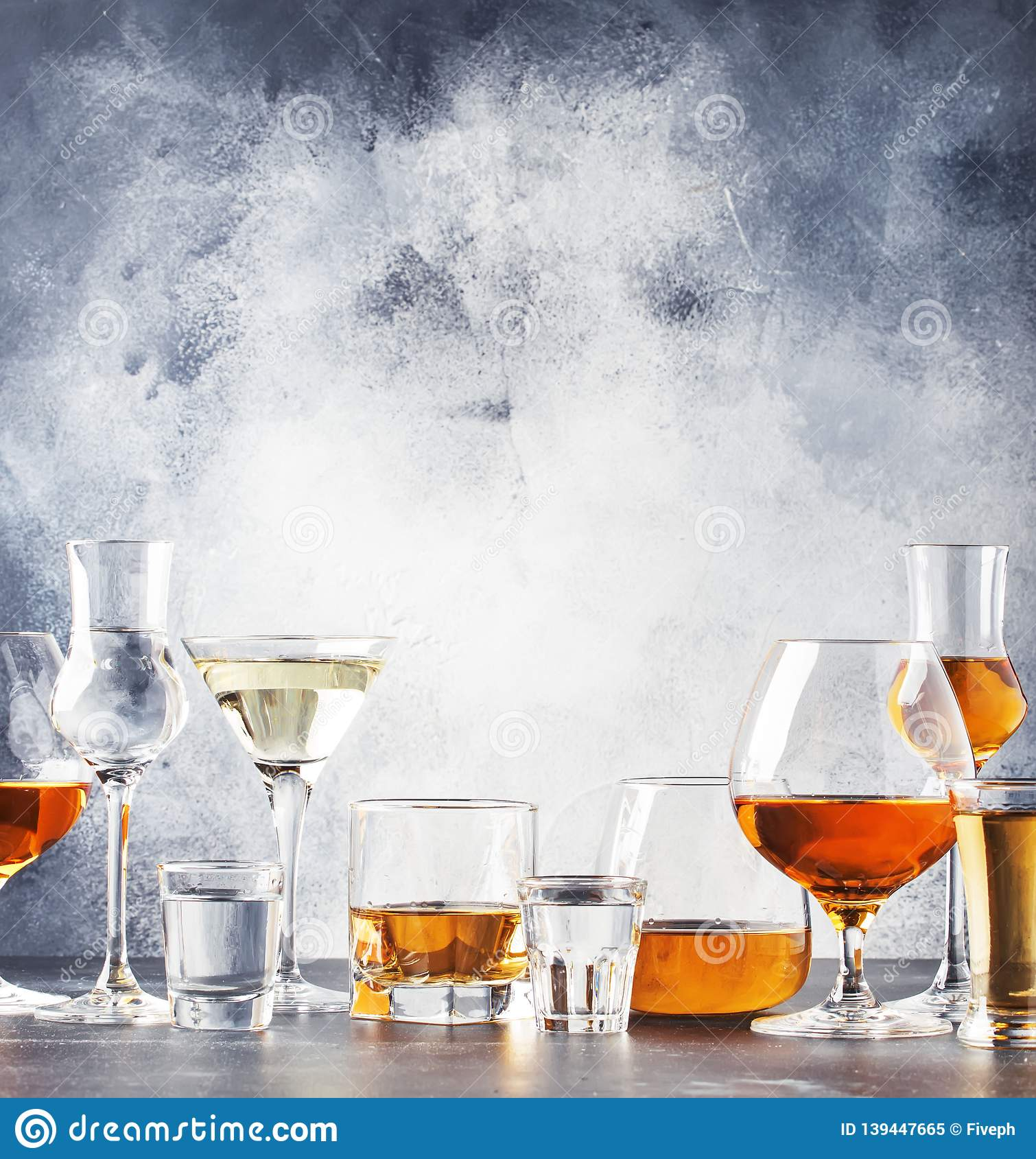 Selection Of Hard Strong Alcoholic Drinks In Big Glasses