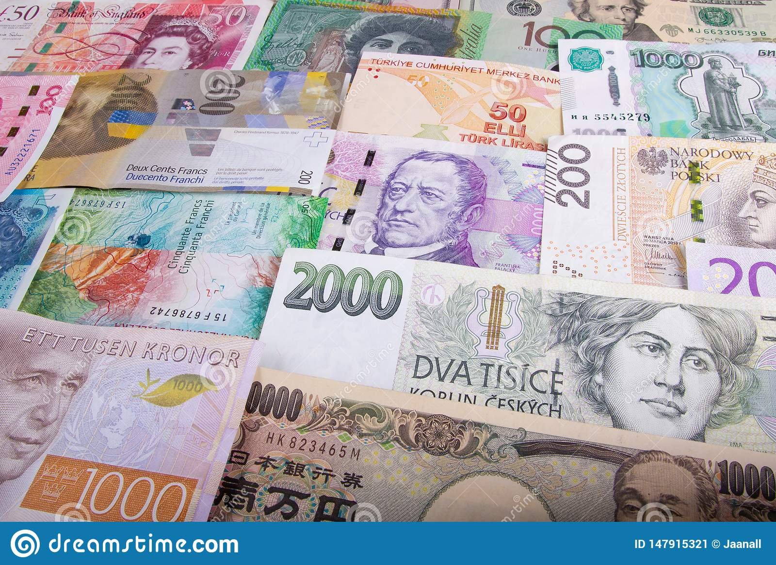 Different Paper Currencies From Around The World Editorial Photo Image Of American British 147915321