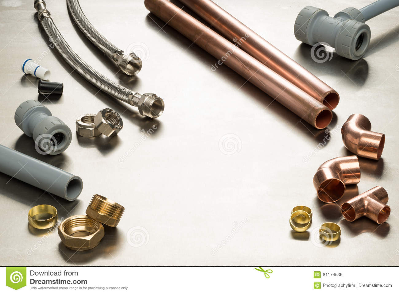 Selection of plumbers tools and plumbing materials with