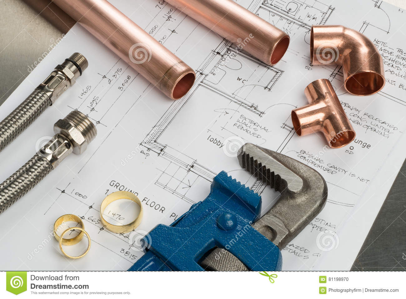 Selection Of Plumbers Tools And Plumbing Materials Stock Photo