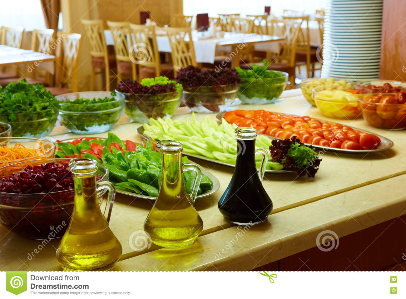 selection of salads at a buffet bar stock photo image 75078482. Black Bedroom Furniture Sets. Home Design Ideas