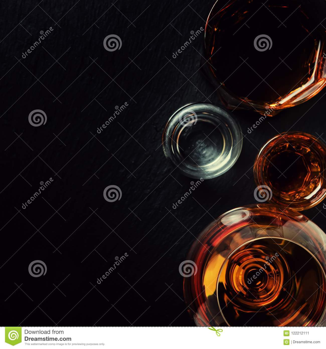 Selection Of Strong Alcoholic Drinks In Glasses, Top View