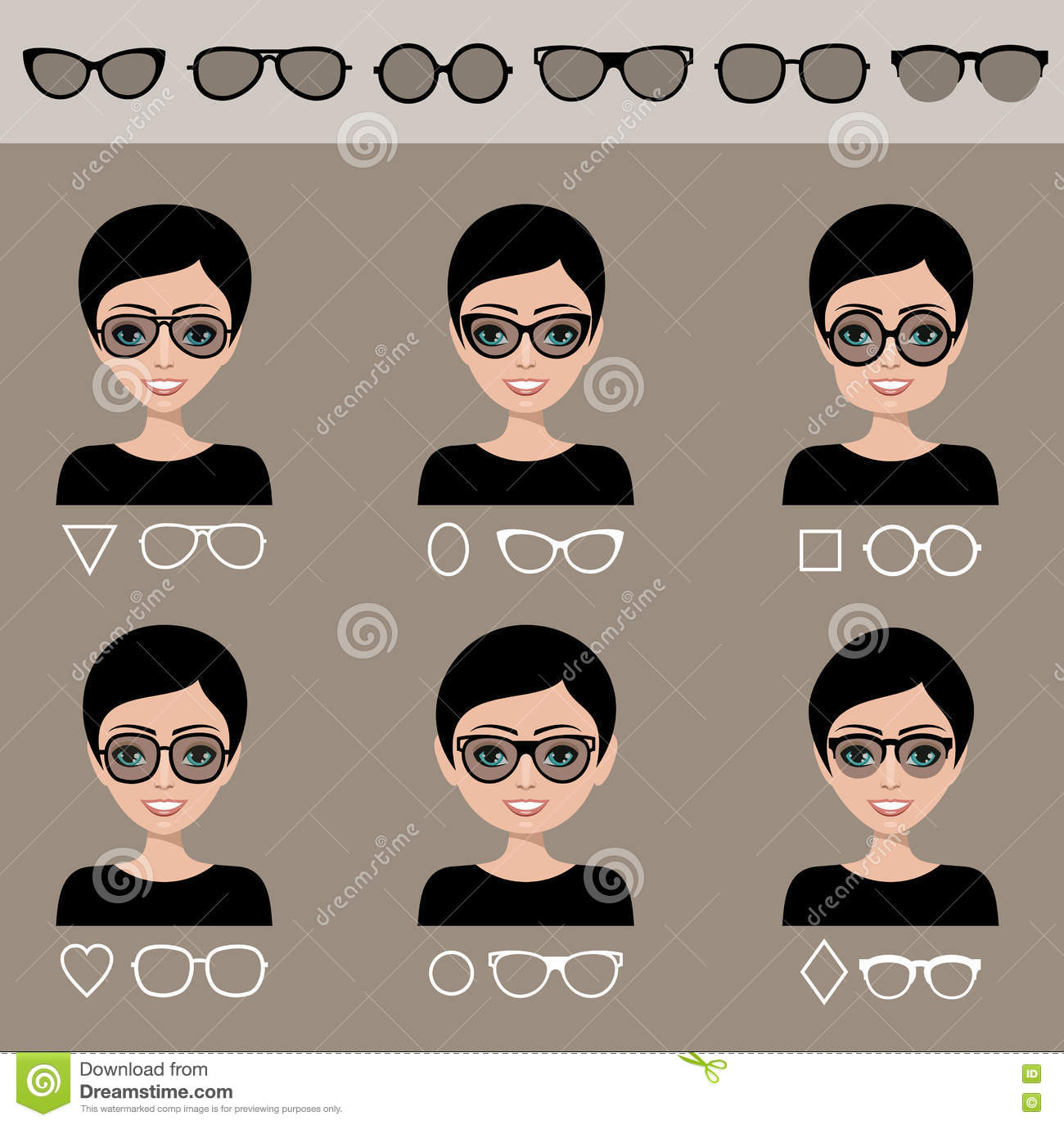 Sunglasses Shapes 7. Cartoon Vector