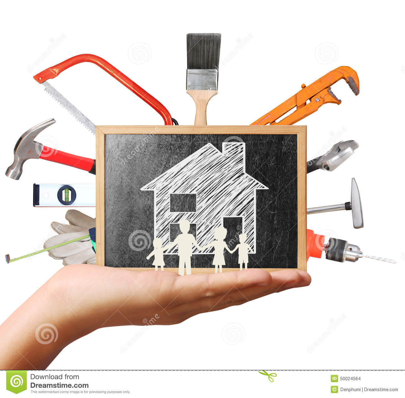 Selection of tools in the shape home improvement concept for House remodeling tools