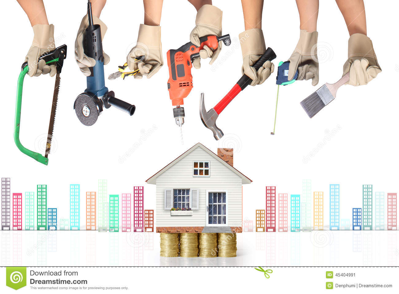Selection of tools in the shape of a house stock image for House remodeling tools