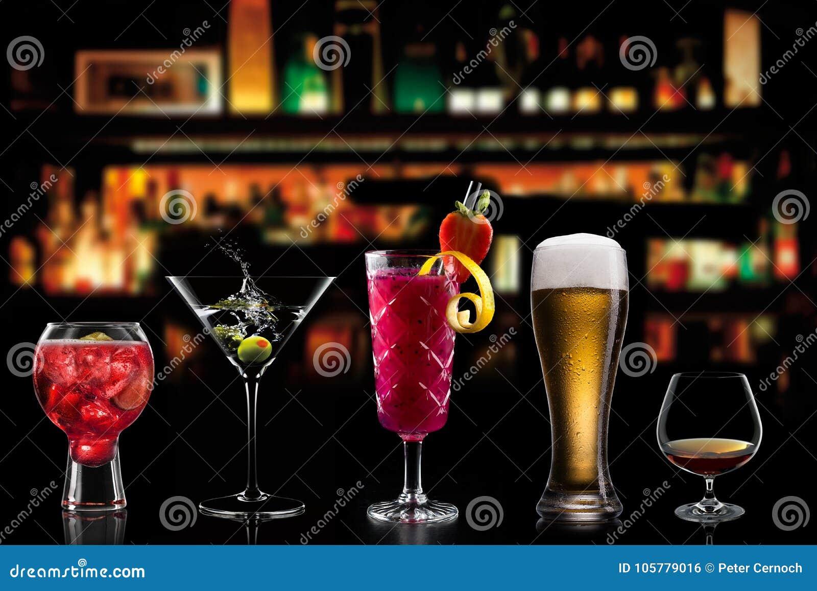 Cocktails drinks beverages background room for text