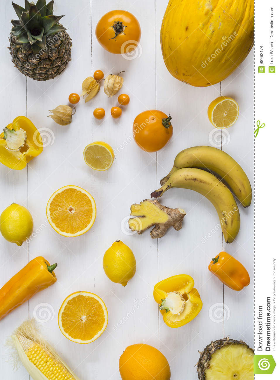 Selection Of Yellow Fruit And Vegetables Stock Photo ...