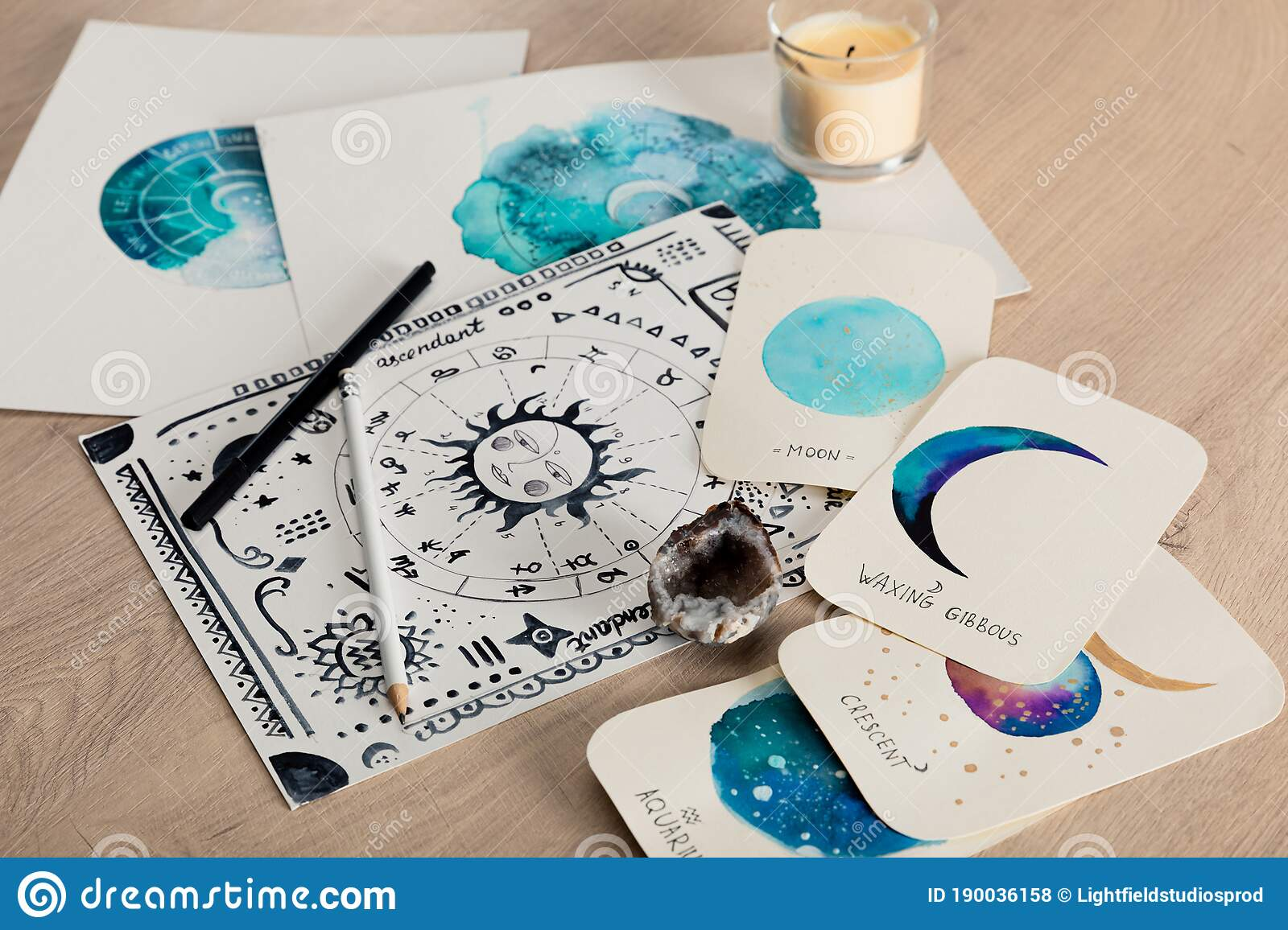 Selective Focus Of Birth Chart And Stock Photo   Image of drawn ...