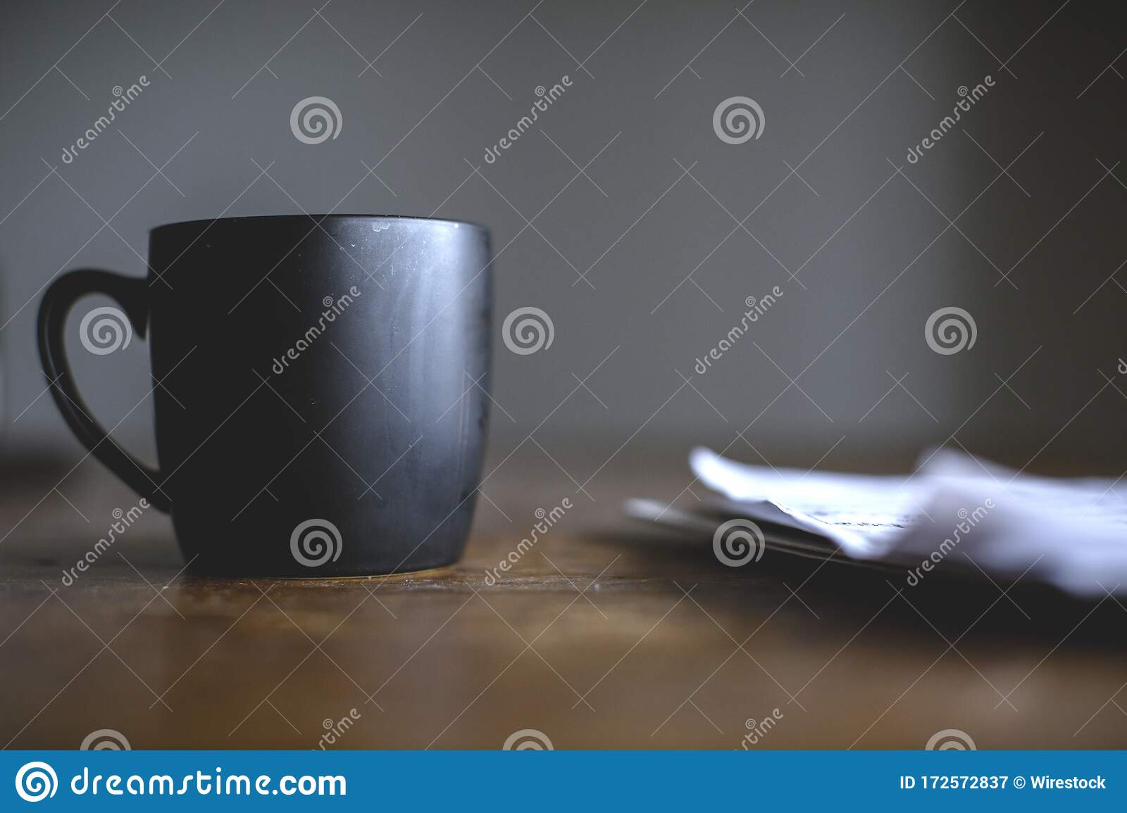 Picture of: Selective Focus Closeup Of A Black Boho Coffee Mug On A Rustic Table Stock Image Image Of Morning Closeup 172572837